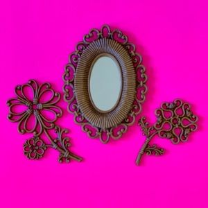 Vintage 1970s wall hangings set of 3 framed mirror